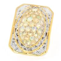 Michael Valitutti Palladium Silver Ethiopian Opal Cluster Elongated Euro Shank Ring