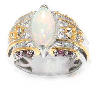 Michael Valitutti Palladium Silver Marquise Shaped Ethiopian Opal & Multi Gemstone Ring