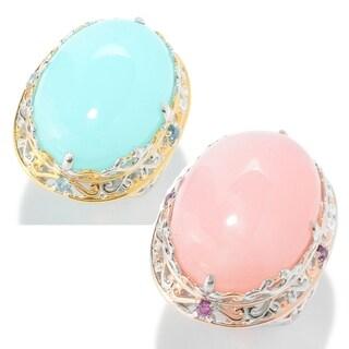 Michael Valitutti Palladium Silver Peruvian Opal & Gemstone Ring