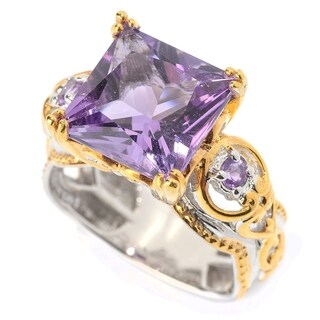 Michael Valitutti Palladium Silver Princess Cut Brazilian & African Amethyst Cocktail Ring