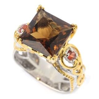 Michael Valitutti Palladium Silver Princess Cut Cognac Quartz & Orange Sapphire Cocktail Ring