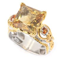 Michael Valitutti Palladium Silver Princess Cut Citrine Cocktail Ring