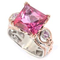 Michael Valitutti Palladium Silver Princess Cut Pink Topaz & Pink Sapphire Cocktail Ring