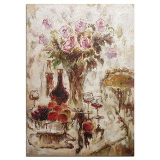 The Dinner' 24 x 36-inch Beautiful Oil Painting of Flowers, Food and Wine on the Dinning Table