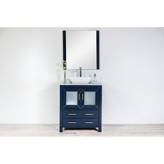 Newport Collection 30 inches in Navy w/ Carrara Marble Top and High Gloss Ceramic Basin