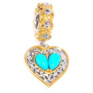 Michael Valitutti Palladium Silver Sleeping Beauty Turquoise Heart Drop Charm