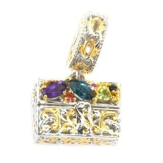 Michael Valitutti Palladium Silver Multi Gemstone Handbag Drop Charm