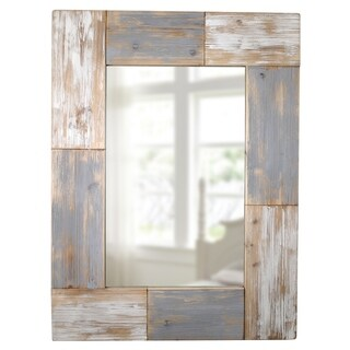 FirsTime Grey Wood Mason Planks Wall Mirror