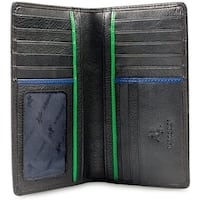 "Visconti Jaws BD12 Black Leather Tall Checkbook Wallet 4"" x 6.5"""