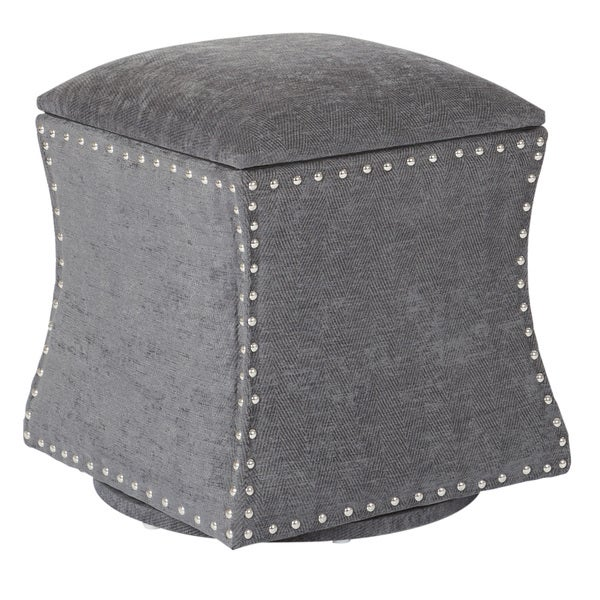 St. James Swivel Fabric Storage Ottoman with Nailheads. Opens flyout.