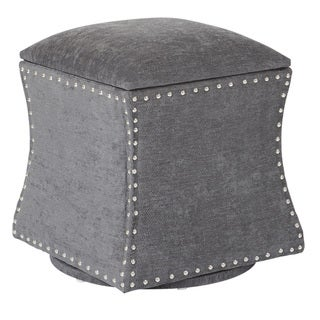 Ave Six St. James Swivel Fabric Storage Ottoman with Nailheads