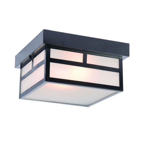 Acclaim Lighting Artisan Collection Ceiling-Mount 2-Light Outdoor Matte Black Light Fixture