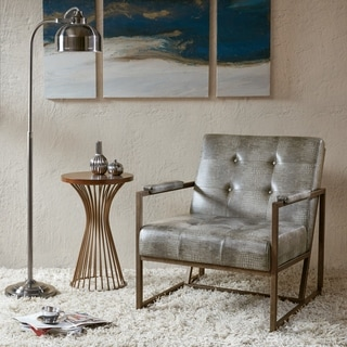 Strick & Bolton Normani Brown Faux Leather Metal Frame Lounge Chair