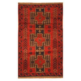 Handmade Herat Oriental Afghan Hand-knotted Tribal Balouchi Wool Rug (Afghanistan)