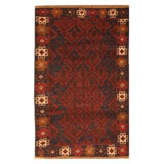 Handmade Herat Oriental Afghan Hand-knotted Tribal Balouchi Wool Rug (Afghanistan) - 2'7 x 4'9