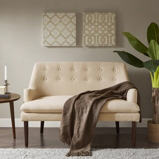 Madison Park Elsa Cream Fabric Upholstered Settee