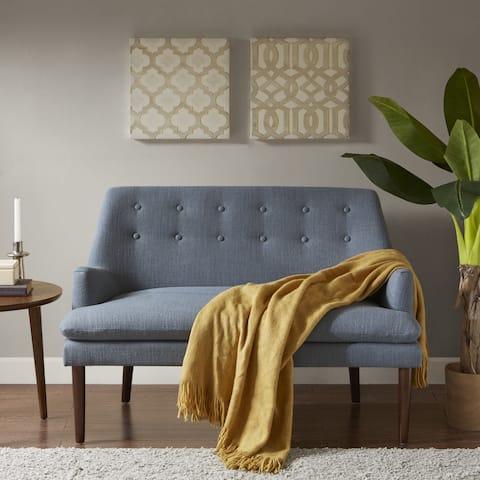 Madison Park Elsa Blue Fabric Settee