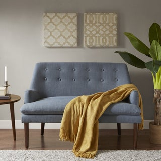 Awesome Madison Park Elsa Blue Fabric Settee