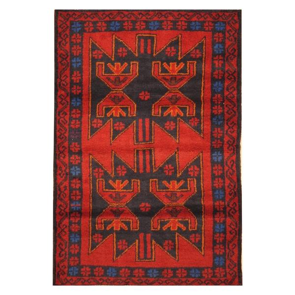 Handmade Herat Oriental Afghan Hand-knotted Tribal Balouchi Wool Rug - 2'10 x 4'4 (Afghanistan)