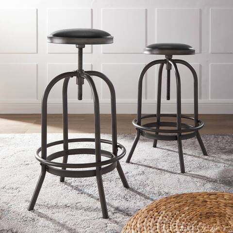 Coruvs Rochelle Industrial Adjustable Swivel Bar Stools (Set of 2)