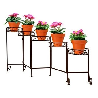 Folding Flower Pot Stand - 5 Holder, Bronze