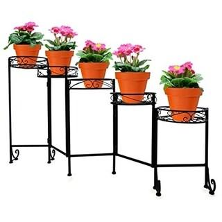 Folding Flower Pot Stand - 5 Holder, Black