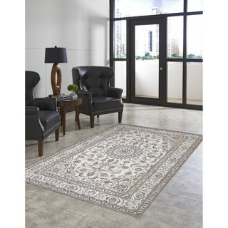 Traditional Nain Pattern Cotton Blend Medallion Area Rug (7'10 x 9'6)