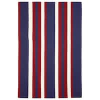 "Liora Manne Portsmouth Nautical Strp Indoor/Outdoor Rug Americana 7'6""X9'6"""