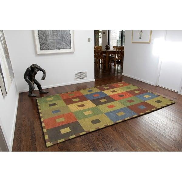 "Liora Manne Inca Squares Indoor Wool Runner Rug Multi 2'3"" X 8' - 2'3 x 8"