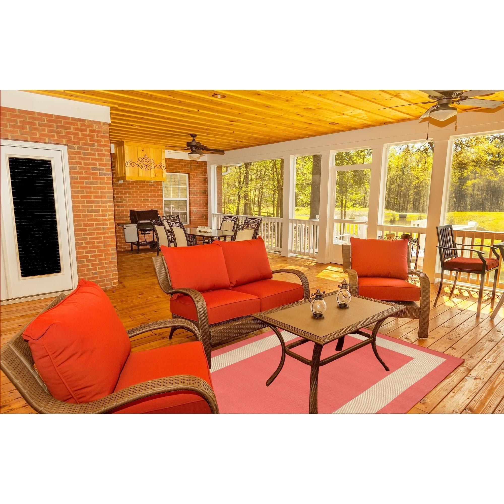 Liora Manne Tulum Border Indoor Outdoor Rug Almond 23 X7 6 Ebay