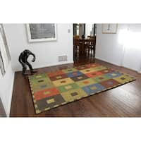 Concentric Squares Multicolored Wool Rug (5' x 8')
