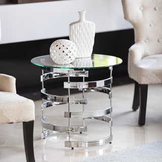 Danya B Signature Chrome Finish Iron and Tempered Glass End Table