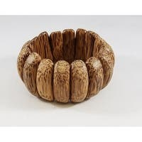 Kenneth Jay Lane Spotted Wood Panel Stretch Bracelet - Brown