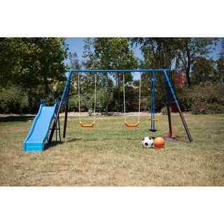 FITNESS REALITY KIDS 7 Station Sports Series Metal Swing Set