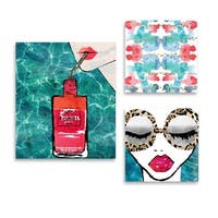 Oliver Gal 'Water Coveted World Set of 3' Canvas Art