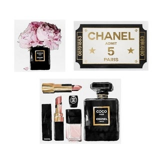 Oliver Gal 'Chanel - Admit 1 Set of 3' Canvas Art