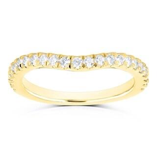 Annello by Kobelli 14k Gold 1/3ct TDW Diamond Curved Wedding Band