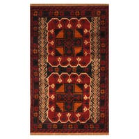 Handmade Herat Oriental Afghan Hand-knotted Tribal Balouchi Wool Rug  - 2'8 x 4'4 (Afghanistan) - 2'8 x 4'4