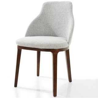Shop Walnut Plywood And Grey Fabric Dining Chair With