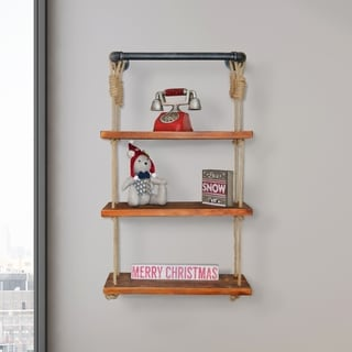 Jungle Industrial Pipe Walnut Wall Shelf with Adjustable Rope