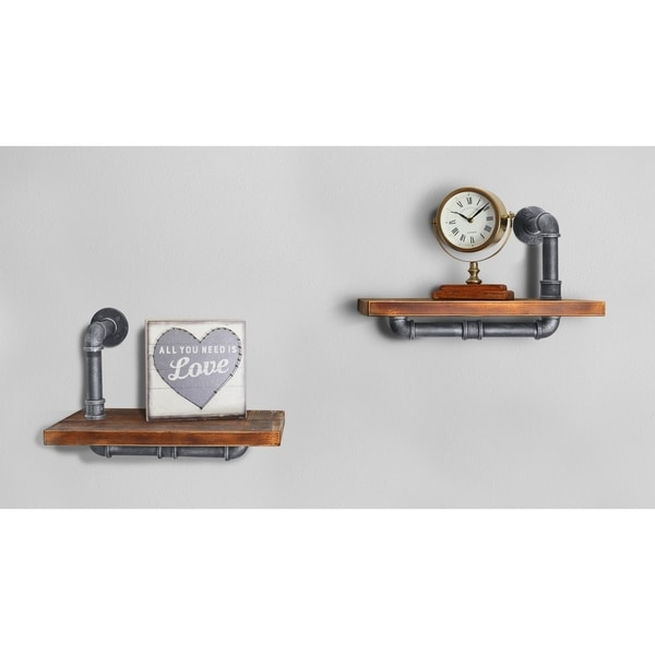 Duo Industrial Floating Silver Brushed Gray Pipe Wall Shelf - Set of 2
