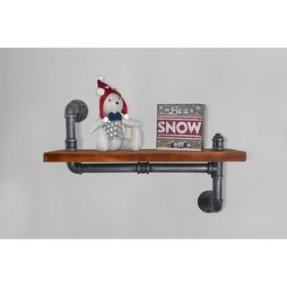London Industrial Floating Silver Brushed Gray Pipe Walnut Wall Shelf