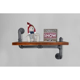 London Industrial Floating Silver Brushed Gray Pipe Walnut Wall Shelf|https://ak1.ostkcdn.com/images/products/18543313/P24649098.jpg?impolicy=medium