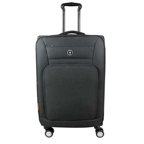 Swissdigital Sion Upright Expandable 24-inch Suitcase in Black