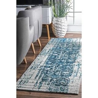 nuLoom Distressed Vintage Faded Persian Blue Runner Rug (2'6 x 10')