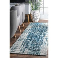 nuLOOM Distressed Vintage Faded Persian Blue Runner Rug (2'6 x 8')