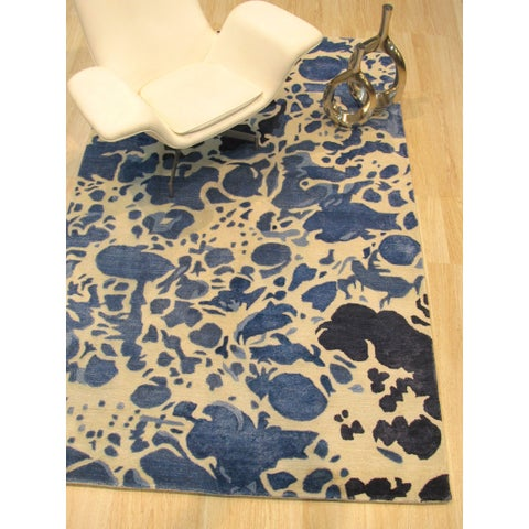 """Handmade Ivory Contemporary Abstract Palermo Rug - 7'9"""" x 9'9"""""""