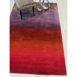 Contemporary Stripe Horizon Red Wool Handmade Rug (7'9 x 9'9)
