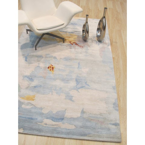 Hand-tufted Blue Contemporary Abstract Palermo Rug - 5' x 8'