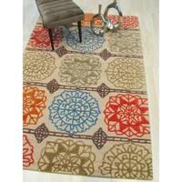 EORC Geometric Matrix Transitional Beige/ Multicolored Wool/ Cotton Handmade Rug - 7'9 x 9'9
